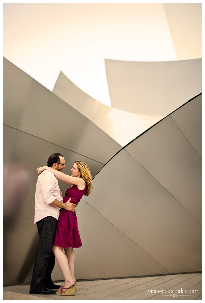 entrance embrace skyline downtown la e session engagement photo shoot wedding escalator flare 2 walt disney concert hall los angeles grand ave tom bradley