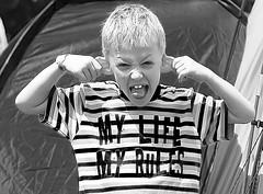 It does what It says on the Tee Shirt! (wentloog) Tags: uk england bw white black monochrome festival wales canon eos britain cymru cardiff glastonbury liam vandal caerdydd terror 5d 2008 slogan wfc 24105 hooligan canoneos5d ef24105f4l wentloog welshflickrcymru stevegarrington