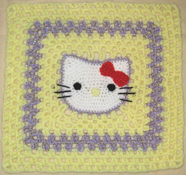 Ravelry Hello Kitty 12 Inch Afghan Granny Square Pattern By Stramenda
