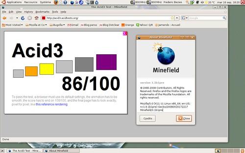 86 / 100 au test acid3 pour la pré-béta1 de Firefox 3.1
