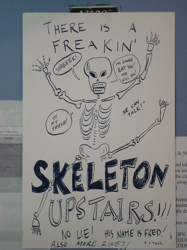 Sign for Fred the Skeleton and also more zines
