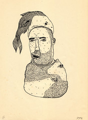 screenprint (pearpicker.) Tags: portrait fish face illustration beard screenprint head eating ugly metamorphosis