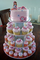 Little girl Cupcake Tower (TheLittleCupcakery) Tags: pink girl cupcakes little cupcake tlc fondant cupcakery xirj klairescupcakes