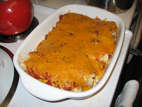 Chicken Enchiladas, Cooked and ready to serve