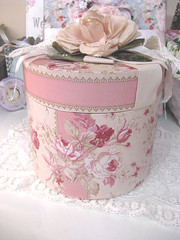 Millinery Storage Box (kimberlyannryan) Tags: pink roses wallpaper glitter pearls ribbon millinery hatbox teastained