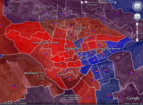 Île de Montréal et Laval - Résultats élections Québec 2007
