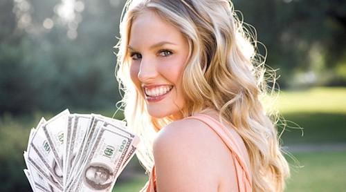 Dame met geld