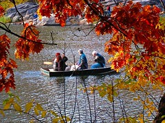 Family outing (Houry Photography -on/off) Tags: trees red lake ny green fall colors leaves yellow kids fun pond centralpark manhattan foliage bowbridge bldgs