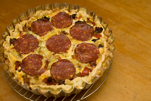 A quiche to test the oven