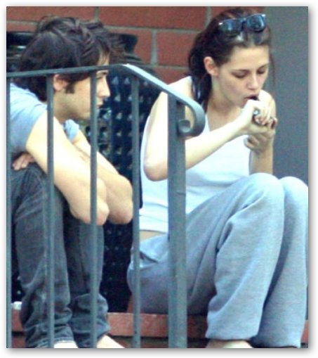 Kristen Stewart Lights Pipe