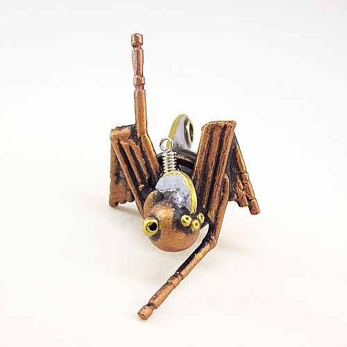 Melanie the Robot Spider Wood Pendant Ornament Science Fiction Dangle 2