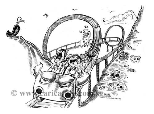 Comic strip illustration - Roller Coaster watermark
