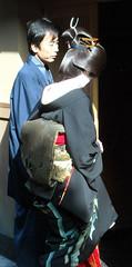 Kotoha's Erikae (fuyou-hime) Tags: red white black green gold tiger bamboo maiko geiko geisha kimono obi gion camellia kitsuke katsura shimada erikae kotoha kobu hikizuri nihongami