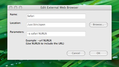 Edit External Web Browser