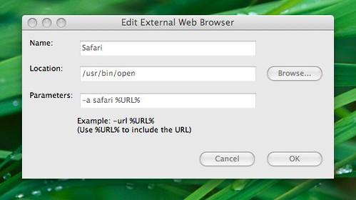 Edit External Web Browser