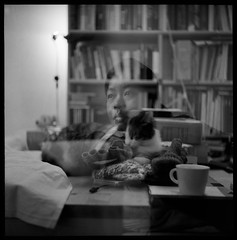 at home (nils ♫) Tags: blackandwhite bw white black 120 6x6 film home coffee mediumformat table noiretblanc napkin books 2006 nb couch medium ilford fp4 yashica zw shuang rollfilm yashicaa theredone yashicon taleofthecat