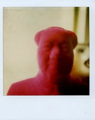 the chairman and the lion (monkeyfinger) Tags: colour film polaroid sx70 flock bust mao analogue chairman chairmanmao
