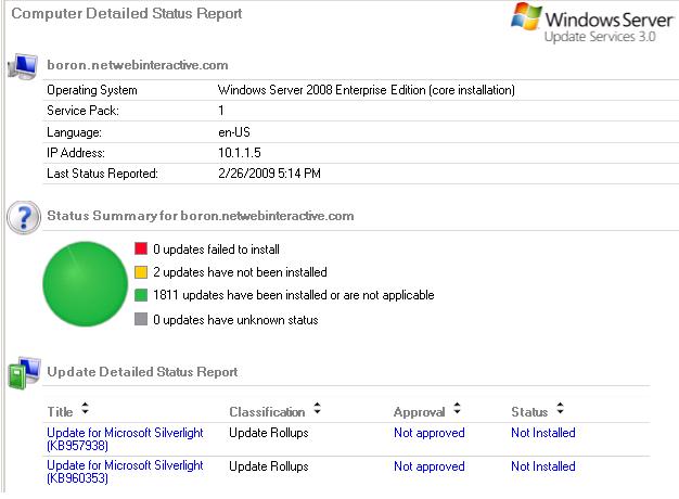 Silverlight: 2 - WSUS - Windows Server 2008 Core