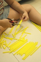 straw tower cutting straws
