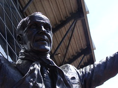 Face of the Bill Shankly statue at Anfield, home of Liverpool FC