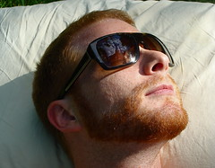 the light inside (redjoe) Tags: nyc newyorkcity light urban man me face sunglasses self hair fur ginger afternoon centralpark manhattan lips redhead pillow upperwestside freckles redhair prada fuzz redjoe joehorvath