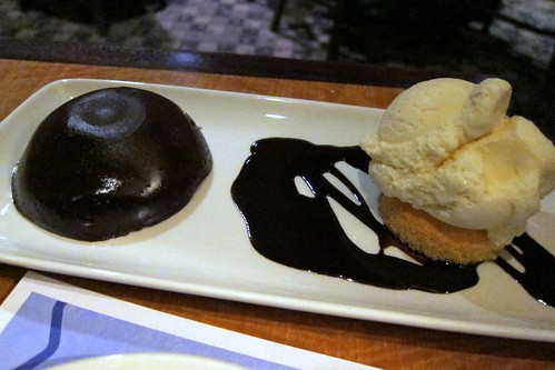 Warm Chocolate Pudding Cake (vanilla ice cream, chocolate sauce and a coconut cookie)