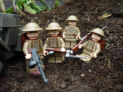 Commonwealth Troops [2] (Milan CMadge) Tags: world old two brick car dark grey war lego military brodie wwii gray tan clips scout canadian lee u ww2 spike british ba custom modification commonwealth decals thompson dingo daimler enfield helmets bayonet armoured battalion milans brickarms m1928