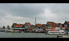A Little Harbour in Amsterdam (Audrey A Jackson) Tags: houses windows sea water amsterdam boats doors harbour roofs masts sonycybershot