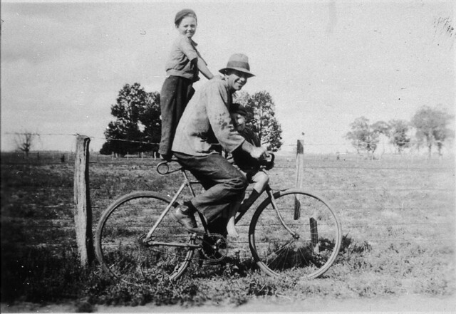 Man on bicycle pillioning boy - Bunaloo, NSW, n.d.