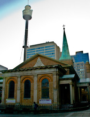 St James' Church, Hyde Park (the_fella) Tags: tower sydney australia centerpoint thefella