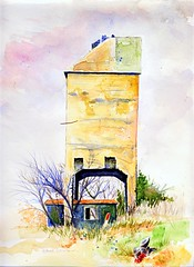 Last Legs (Art and Nature-Mike Sherman) Tags: railroad lake painting michigan lakemichigan deerhead railstotrails coalingtower clarecounty enpleinair transparentwatercolor lakestation