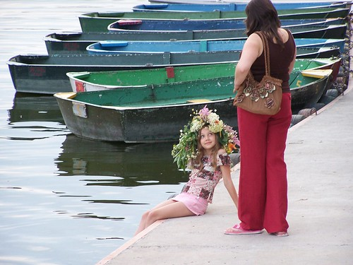 A Little Girl With Her Ivana Kupala Wreath and Her Mother