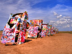 Cadillac Ranch (JoWiJo) Tags: sky cars metal graffiti weird route66 junk paint texas ground cadillac odd vehicles amarillo dirt burial cadillacranch oddity hdr automobiles spectacle bizzarre top20texas bestoftexas