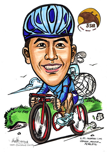 Caricature 5 SIR cycling golf soccer