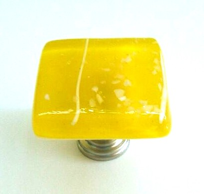 Glass Cabinet Hardware in Yellow Art Glass