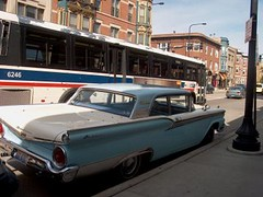 Northbound CTA Route # 8 Halsted Street bus passing a 1957 Ford Fairlaine. Chicago Illinois. 2007.