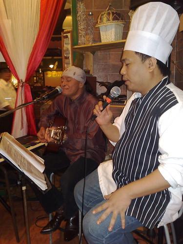 Chef singing.