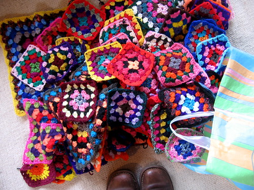 collection of granny squares from the op shop yesterday