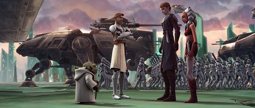 Anakin Skywalker and Ahsoka Tano receive their orders in a scene from STAR WARS: THE CLONE WARS.