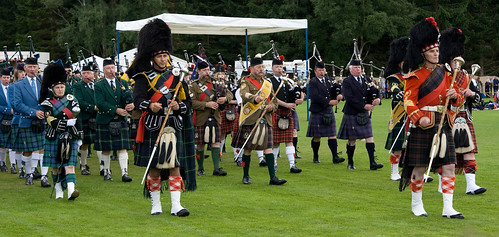 The march of the bagpipes, Abernethy Highland Games, Nethy Bridge