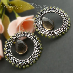 Owl Eyes - Smoky Quartz,Sterling Silver and Peridot post Earrings (VaniniDesign) Tags: post oneofakind smooth jewelry chain earrings polished peridot smokeyquartz sterlingsilver wireboutique artisanwirewrapped