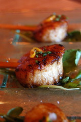 Seared Scallops on Ginger Mango Stix withOrange Oil and Sesame (an Australia-inspired dish)