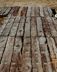 Deck of railroad ties (Jan's_Photos) Tags: wood deck railroadties woodsidewalk