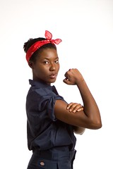 Rosie Riveter (Melissa Witcher) Tags: portrait woman feminine girlpower africanamerican strength independence mechanic dickies worldwar2 empowerment creativecircuscanon30d melissawitchercom