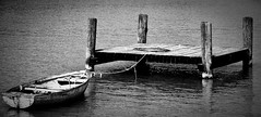 A lonely boat (cropped) (Balzs B.) Tags: bw lake port boat balaton