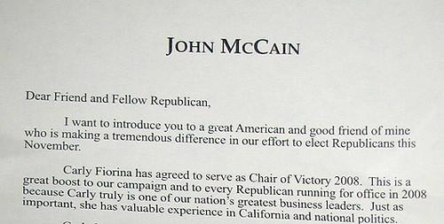 a Letter from John McCain