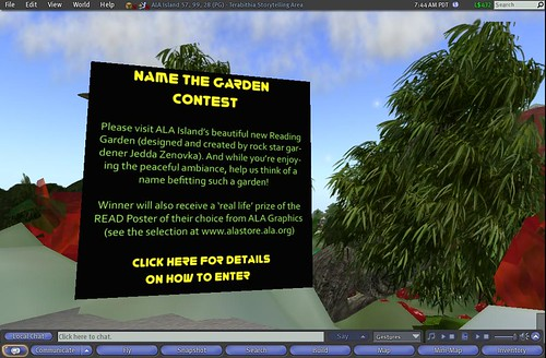 Name the Garden Contest - ALA Island in Second Life (57, 99, 28) by ALA staff