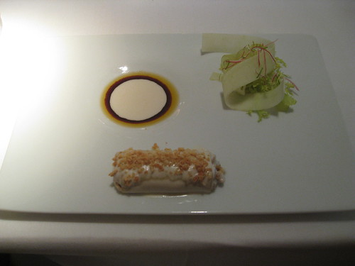 Barcelona, Alkimia: Chichen Cannalloni with Almond Bechamel, Apple and Radish Salad
