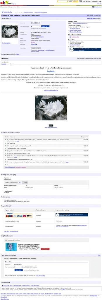 Iceland is on Ebay!