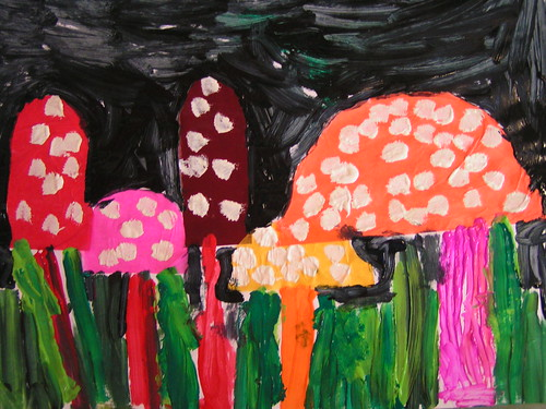 toadstools made in my class by 5 year old